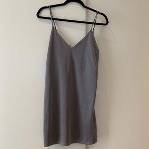 Silver Camisole Mini Slip Dress